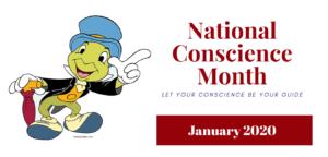 Jiminy Cricket National Conscience Month January 2020