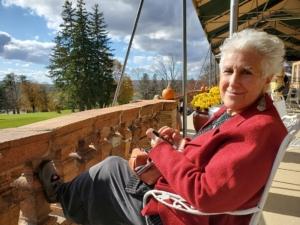 Michelle Eliot sitting on Balcony